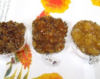 Cluster Crystal, Citrine Pendant, Chakra Crystal, Silver Plated Druzy Pendant, November Birthstone, Electroplated Quartz, Raw Agate Gemstone