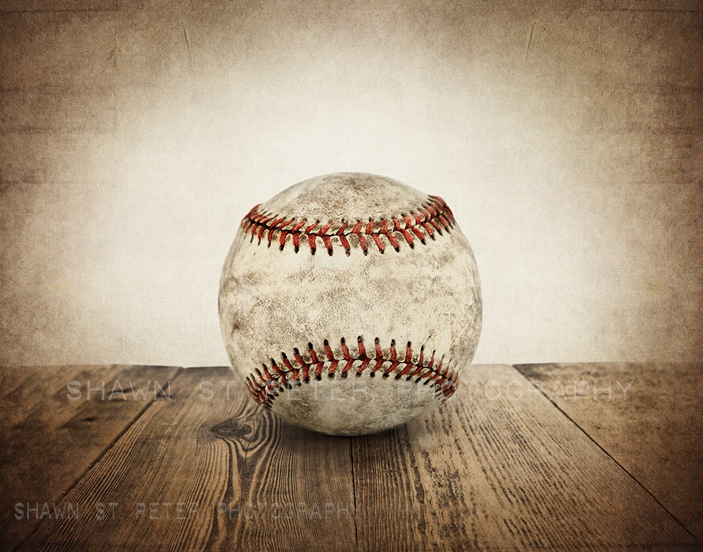 Vintage Single Baseball On Wood Photo Print Decorating Ideas