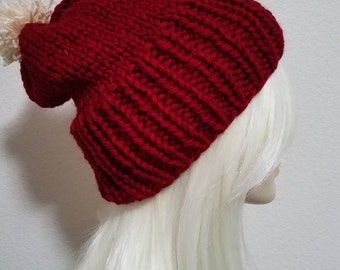 Hand Knit Slouchie Beanie With Pom - Color Options!