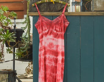 red hand tie dyed vintage 1960s slip
