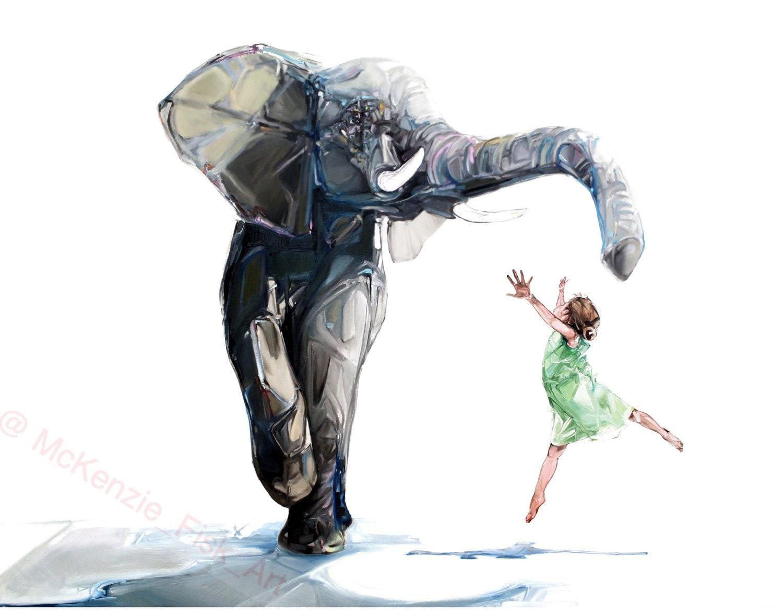 Elephant illustration Modern wall art surrealism print
