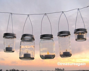 Easy Hang Jar Lids DIY Wedding Hanging Candles or Flowers, Hangers only, No Jars