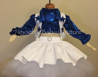 Baby Dallas Cowboys Cheerleader Outfit With Pom Poms