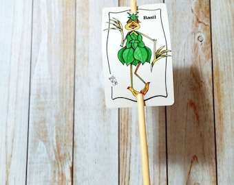 Garden Sign Basil Herb Metal Sign on Bamboo Stake UV Protected Against Fading 2x3 sign 12 inch stake Customizable