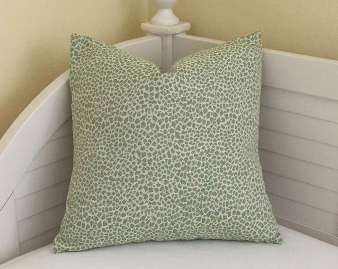 Crabapple Green Animal Print Indoor Outdoor Designer Pillow Cover  - Square, Bolster, Lumbar and Euro Sizes Available