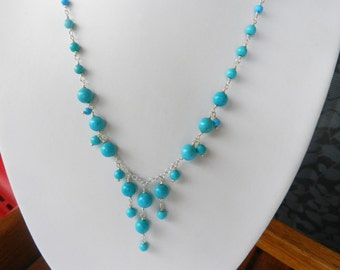 Stone Necklace - Turquoise Necklace - Blue Turquoise -  Natural Turquoise Choker