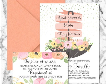 April Showers Invitation (digital file)