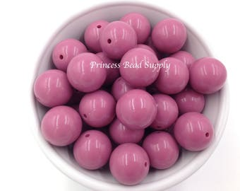 20mm Mauve Pink Solid Chunky Beads Set of 10,  Mauve Pink Bubble Gum Beads, Bubble Gum Beads, Gumball Beads, Acrylic Beads