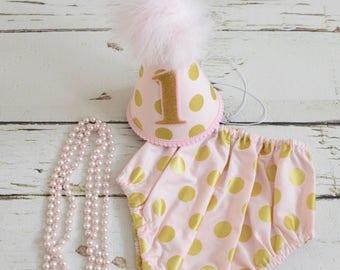 Pink and Gold Polka dot Girl Cake smash outfit - Baby girl birthday set