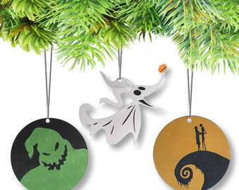 Nightmare Before Christmas Glitter Ornaments-Set of (3)