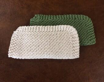 Hand Knit Cotton Washcloths (Set of 2)