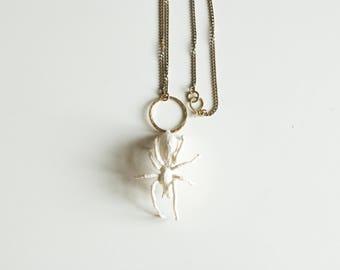 white spider pendant,fiberart, soft sculpture,