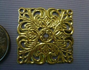 Vintage Filagree Square Brass Stamping  (3)