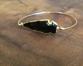 Arrowhead Bracelet, arrowhead gold bangle, bohemian arrowhead bracelet, gold filled bangle, stackable bracelets.