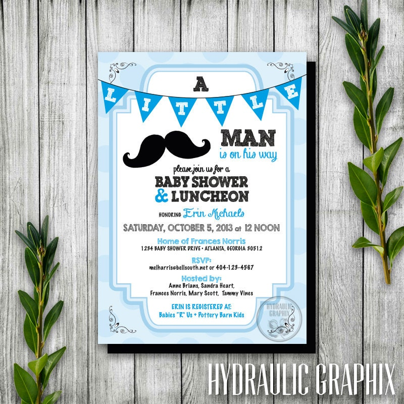 Little Man Baby Shower Invitation Printable Boy Baby Shower