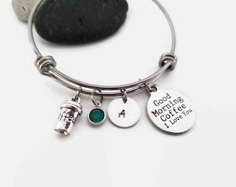 Coffee bangle bracelet - I love coffee - Personalized bangle - Gift for coffee lover - Coffee cup charm bangle - Coffee lovers jewelry gift