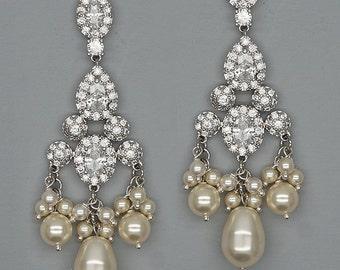 Vintage Chandelier Earrings Crystal Wedding Earrings Ivory Pearls Bridal Earrings Swarovski Earrings Cubic zirconia Earrings