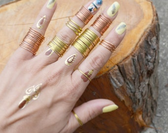 Spiral Ring Stacking Bands Ring Above Knuckle Midi Ring Rustic Copper Ring Brass Band Ring