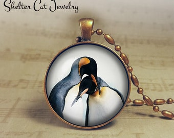 """Pengius in Love Necklace - 1-1/4"""" Circle Pendant or Key Ring - Handmade Wearable Photo Art Jewelry - Nature Art - Pengiuns - Gift"""