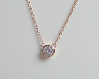 Solitaire Necklace Rose Gold Plated / CZ Solitaire Pendant / Dainty Solitaire Necklace / Minimalist Necklace / Solitaire Bezel Pendant