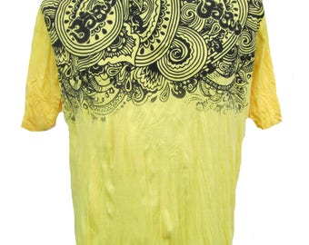 Size XL // Mandala Ohm Buddha T-Shirt Soft Comfy Preshrunk Cotton Boho Yellow T-Shirt