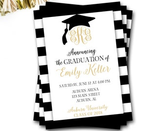 Graduation Announcement, Monogram Graduation Invitation, Black and Gold Graduation, GradAnnouncement, Grad Party, DIY Printable