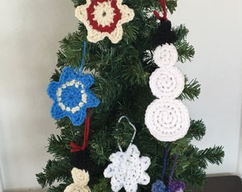 Snowman and Snowflake Christmas Crochet Ornaments