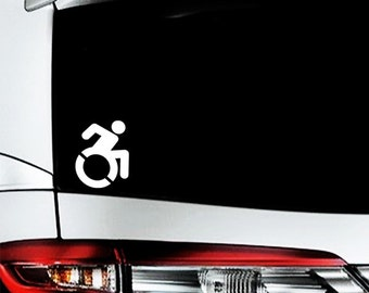 "Modern Disabled Symbol Decal / Wheelchair Access Sticker / ADA Symbol Car Decal / Handicap Accessory Van Sticker / 3.75""h x 3""w / #989"