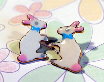 Bunny Earrings Easter Holiday Gift Porcelain Ceramic Clay Jewelry