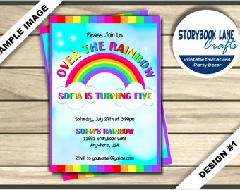 Rainbow Invitation, Rainbow Birthday invitation, Over the Rainbow Invite - Chalkboard Birthday Party Printable, Girl 2 Designs