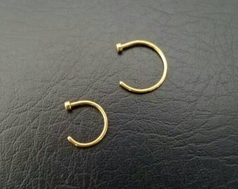 """Gold Nose Ring Nose Hoop Thin 20g 5/16"""" (8mm) 3/8"""" (10mm) Handmade Nostril Ring Nostril Hoop Dainty Rings 316lvm Stainless Steel Gold IP"""