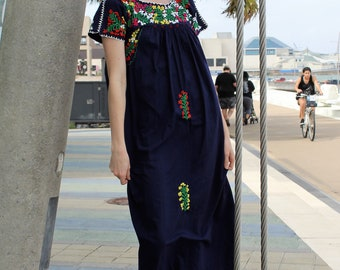 Navy Blue Maxi Dress   Blue Maxi Dress, Small, Medium, Short Sleeve Maxi Dress Women, Oaxacan, Long Mexican Dress, Short Sleeve Long Maxi