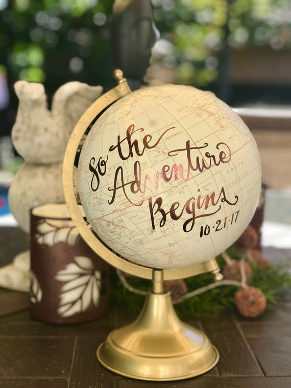 Calligraphy Globe/WHITE WASHED w/Gold, Rose Gold /other color ink / custom calligraphy - special touch at your wedding or in baby's nursery