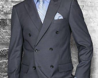 Mens ALBERTO NARDONI Double Breasted Wool Suit Charcoal Gray Alberto Nardoni DB-1