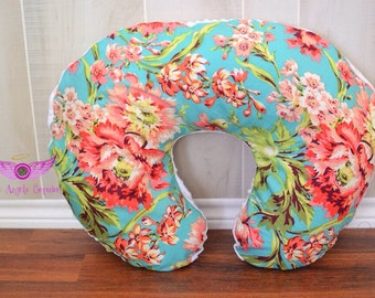 Amy Butler Bliss Bouquet in Teal and White Minky Boppy Pillow Cover