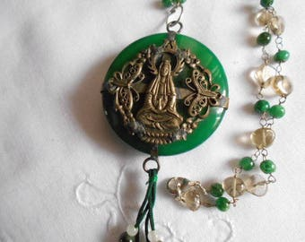 Vintage exotic jade pendant and silver, made from 2 different items