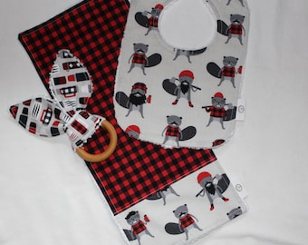 Red Burly Beavers and Chenille Set
