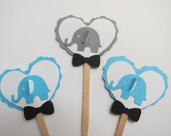 Baby Elephant Cupcake Toppers, Boy Birthday Party, Boy Baby Shower, Party Decorations