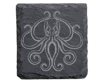 Octopus Engraved Slate Coaster Set