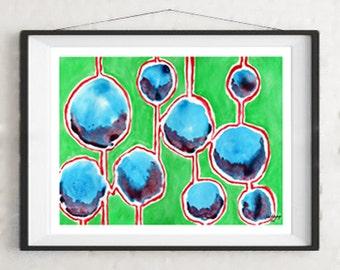 Hanging Worlds Abstract Watercolor Fine Art Giclee Print Original Artwork