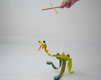 DIY Dinosaur Dino Marionette - Puppet on strings - Sewing PATTERN pdf -How to Make your own marionette  , felt puppet