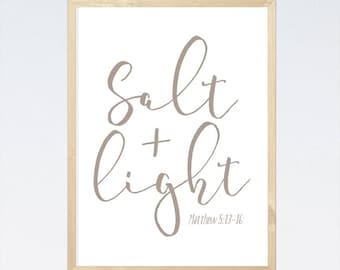 Salt and Light Matthew 5:13-16, INSTANT DOWNLOAD, Bible Verse Print, Scripture Art, Christian Decor, Salt and Light Print, Inspirational Art