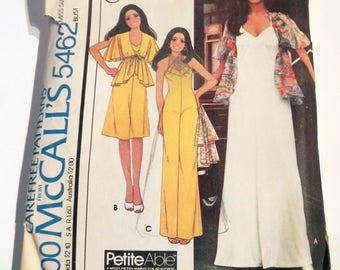 "1970s Jumpsuit Hostess Dress yoke coverup jacket boho Marlos Corner knit maxi vintage sewing pattern McCalls 5462 Size 10 Bust 32.5"""