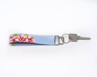 Pretty Oilcloth Key Fob, Wristlet, Keychain, Keyring, Floral Keyholder