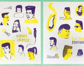 SPECIAL OFFER African Barber Shop risographs *Buy both and get 2nd half price!*