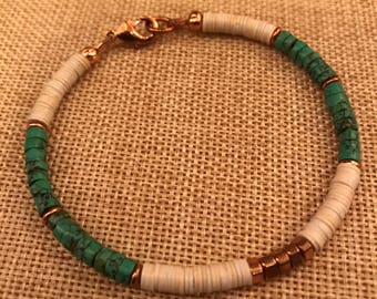 Turquoise, recycled vinyl, and copper bracelet