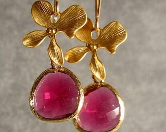 Fuchsia Blossom Glass Gold Bridesmaid Earrings, Gold Earrings, Fuchsia Earrings, Wedding Earrings, Bridal Earrings (3980)