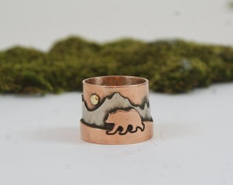 Grizzly bear Bear ring Unisex ring Unique ring Bohemian ring Copper jewelry Gihts for him  Gihts for her Boho copper ring Mens ring