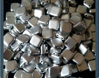 CZ 2 hole square beads, 6 mm, silver