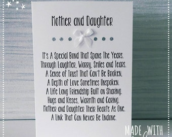Mother & Daughter Card, Daughter Card, Mother Card, Mum Card, Greetings Card, Card, Daughter Cards, Personalised